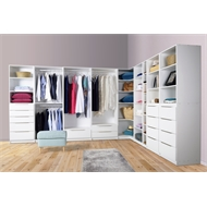 Multistore 2000 x 750 x 450mm White Wardrobe Storage Unit With Shelf And Drawers