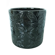 Eden 14 x 12.5cm Black Moroccan Tile Indoor Ceramic Pot