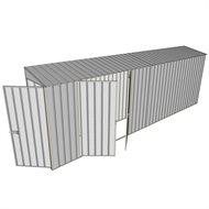 Build-a-Shed 0.8 x 6 x 2m Single Hinged Door Skillion Shed with Double Hinged Side Doors - Zinc