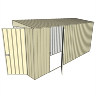 Build-A-Shed 1.2 x 4.5 x 2.0m Zinc Tunnel Shed Tunnel Hinged Door with 1 Hinged Side Door - Cream