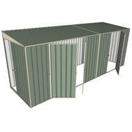 Build-a-Shed 1.5 x 5.2 x 2m Sliding Door Tunnel Shed with 3 Hinged Side Doors - Green