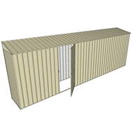Build-a-Shed 0.8 x 6 x 2m Skillion Shed with Single Hinged Side Door - Cream