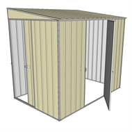 Build-a-Shed 1.5 x 2.3 x 2m Sliding Door Tunnel Shed with Hinged Side Door - Cream