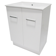 Mondella 600mm White Cadenza Bathroom Vanity With 1 Tap Hole Ceramic Basin