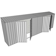 Build-a-Shed 0.8 x 6 x 2m Skillion Shed with Dual Double Hinged Side Doors - Zinc