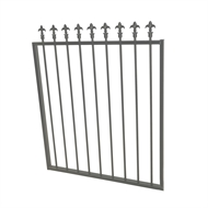 Protector Aluminium 975 x 1200mm J Spear Top Garden Gate - To Suit Gudgeon Hinges - Palladium Silver