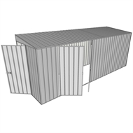 Build-a-Shed 1.5 x 5.2 x 2m Double Hinged Side Door Skillion Shed - Zinc