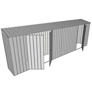Build-a-Shed 0.8 x 6 x 2m Skillion Shed with Double and Single Hinged Side Doors - Zinc