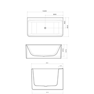 Caroma 1600 x 850 x 572mm White Cube1600 Back to Wall Freestanding Bath