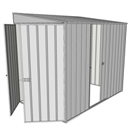 Build-a-Shed 1.5 x 2.3 x 2m Single Sliding Side Door Skillion Shed - Zinc