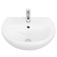 Stylus 450mm White Venecia Wall Basin With 1 Tap Hole