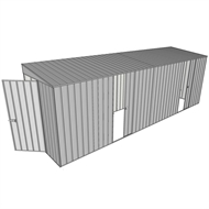 Build-a-Shed 1.5 x 6 x 2m Sliding Door Tunnel Shed with Side Doors - Zinc