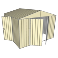 Build-a-Shed 3.0 x 3.0 x 2.3m Gable Triple Hinge Door Shed - Cream