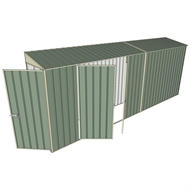 Build-a-Shed 0.8 x 5.2 x 2m Single Hinged Door Skillion Shed with Double Hinged Side Doors - Green