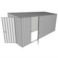 Build-a-Shed 1.5 x 4.5 x 2.0m Tunnel Shed Tunnel Hinged Door +1 Hinged Side Door - Zinc