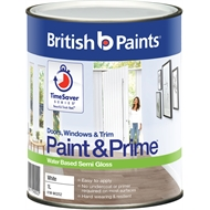 British Paints Paint&Prime™ 1L Semi Gloss White Doors, Windows & Trim