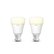 WiZ A60 B22 800lm Warm White Dimmable Wi-Fi Smart Lamp - Twin Pack