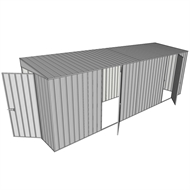 Build-a-Shed 1.5 x 6 x 2m Hinged Door Tunnel Shed with Hinged Side Doors - Zinc