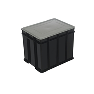 Award 26L Multistack Black Storage Crate With Lid