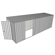Build-a-Shed 1.5 x 6 x 2m Sliding Door Tunnel Shed with Double Sliding Side Doors - Zinc