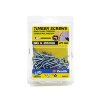 Zenith 6g x 25mm Zinc Plated Hinge-Long Thread Timber Screws - 100 Pack