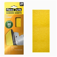 Flexovit 80 Grit 1 / 3 Sheet Timber Orbital Sanding Sheet - 25 Pack