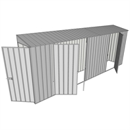 Build-a-Shed 0.8 x 5.2 x 2m Hinged Door Tunnel Shed With Double And Single Hinged Side Doors - Zinc