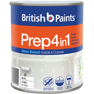 British Paints 500ml White Prep 4 In 1 Water Based Primer Sealer Undercoat