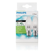 Philips 28w Clear Bayonet Clip EcoClassic Candle Globe - 2 Pack