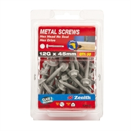 Zenith 12g x 45mm Galvanised Hex Head Metal Screws - 50 Pack