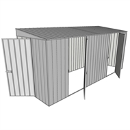 Build-a-Shed 1.5 x 4.5 x 2.0m  Tunnel Shed Tunnel Hinged Door +2 Hinged Side Doors - Zinc