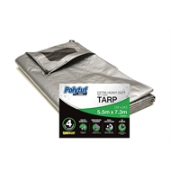 Polytuf 5.5 x 7.3m Silver Black Ultra Heavy Duty D Ring Tarpaulin