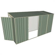 Build-A-Shed 1.2 x 3.7 x 2.0m Zinc Tunnel Shed Tunnel Hinged Door with Double Sliding Side Doors - Green