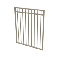 Protector Aluminium 975 x 1200mm Double Top Rail All Up Garden Gate - To Suit Gudgeon Hinges - Paperbark