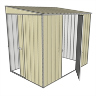 Build-a-Shed 1.5 x 2.3 x 2m Single Hinged Side Door Skillion Shed - Cream