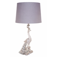 Cafe Lighting Silver Peacock Table Lamp