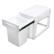 Kimberley 53 x 36 x 35cm White Plastic Concealed Twin Kitchen Bin