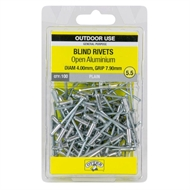 Otter 4.0 x 7.9mm Open Aluminium Blind Rivets - 100 Pack