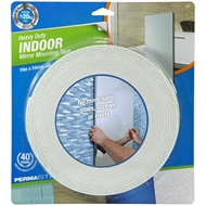 Permastik 10m x 24mm White Heavy Duty Indoor Mirror Mounting Tape Roll