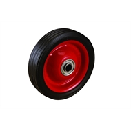 Ambassador 125mm Black Rubber Tyre with Red Metal Centre