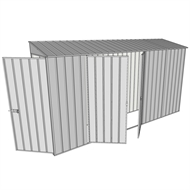 Build-a-Shed 0.8 x 3.7 x 2m Hinged Door Tunnel Shed with Double Hinged Side Doors - Zinc