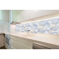 Bellessi 730 x 595 x 5mm Glass Graphic Splashback  - Beach Circles