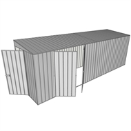 Build-a-Shed 1.5 x 6 x 2m Hinged Door Tunnel Shed with Double Hinged Side Doors - Zinc