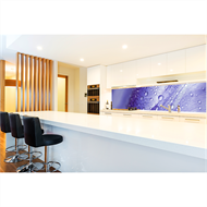 Bellessi 725 x 2440 x 6mm Motiv Polymer Graphic Splashback - Purple Drops