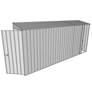 Build-a-Shed 0.8 x 4.5 x 2m Hinged Door Tunnel Shed With Single Sliding Side Door - Zinc