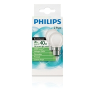 Philips 28W Warm White Frosted EcoClassic Halogen Globe - 2 Pack