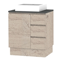 Forme 750mm Light Ash Mont Albert Freestanding Vanity With Concrete Stone Top And Comet Basin RH Drawers