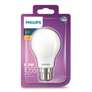 Philips 8.5W 1055lm Warm White A60 A Shape Classic BC LED Globe