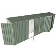 Build-a-Shed 0.8 x 6 x 2m Hinged Door Tunnel Shed with Double and Single Hinged Side Doors - Green
