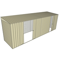 Build-a-Shed 1.5 x 6 x 2m Skillion Double and Single Sliding Side Doors Shed - Cream